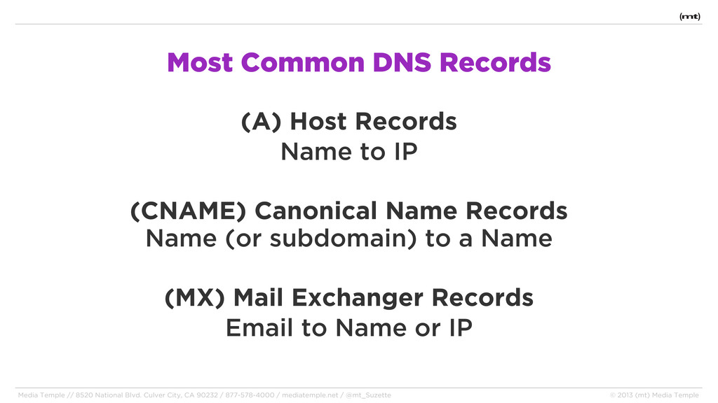 Most Common DNS Records (A) Host Records Name t...