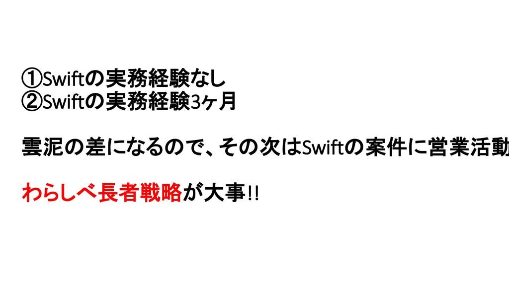 ①Swiftの実務経験なし ②Swiftの実務経験3ヶ月 雲泥の差になるので、その次はSwif...