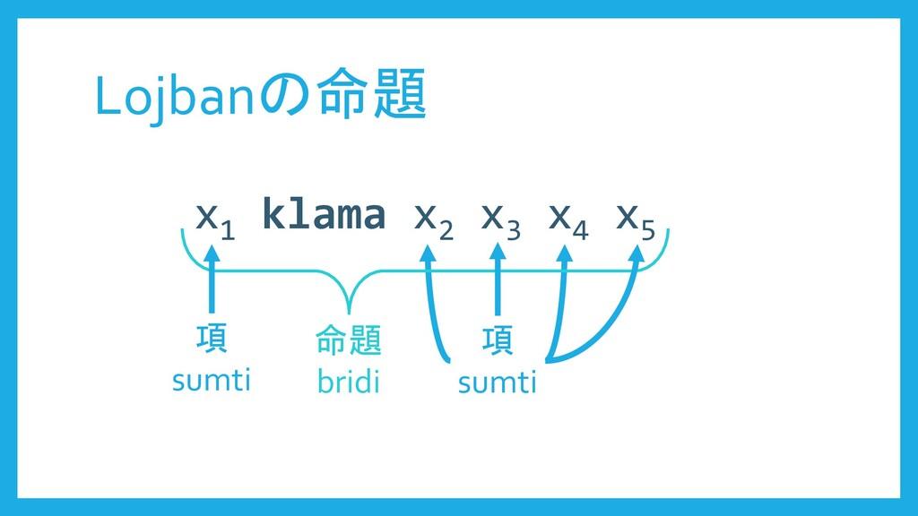 Lojbanの命題 x1 klama x2 x3 x4 x5 項 sumti 命題 bridi...