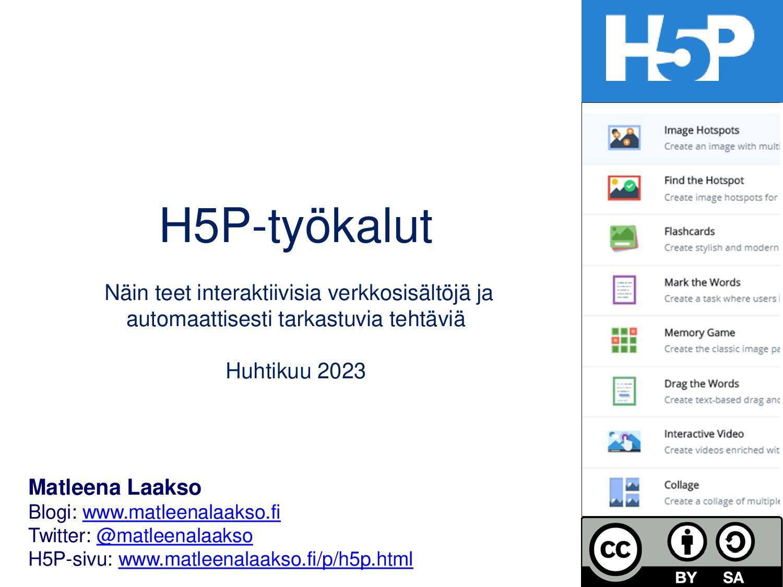 H5P-työkalut Näin teet interaktiivisia sisältöj...
