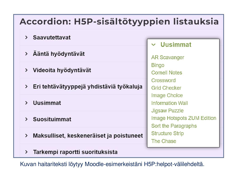 H5P-työkalujen jaotteluita (engl. H5P Content T...