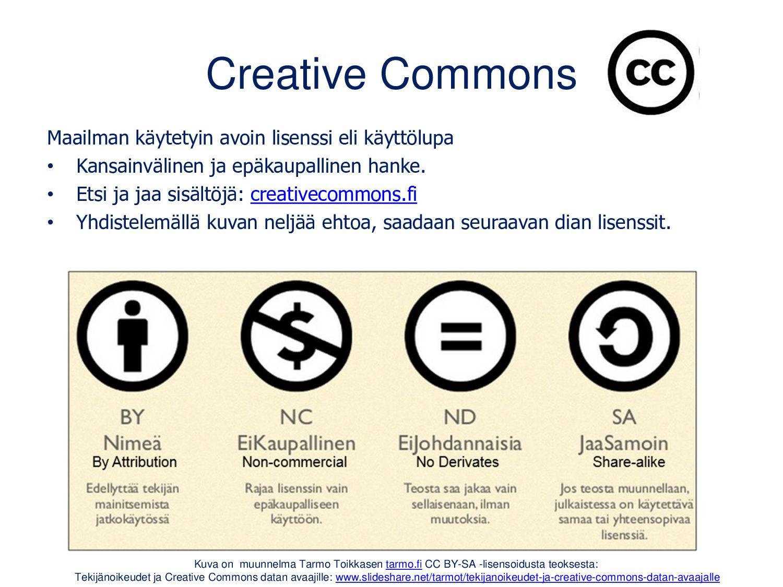 Creative Commons (CC) Maailman käytetyin avoin ...
