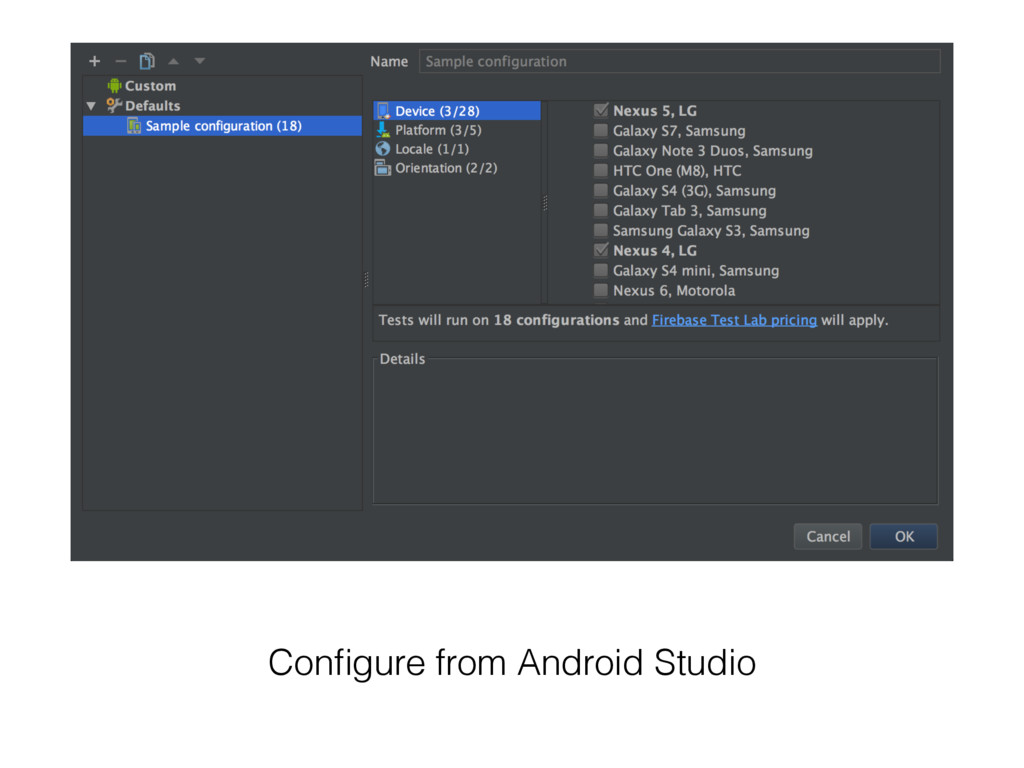 Configure from Android Studio