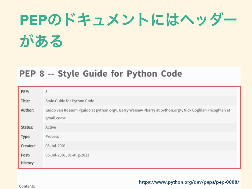 PEPͷυΩϡϝϯτʹϔομʔ ͕͋Δ https://www.python.org/dev...