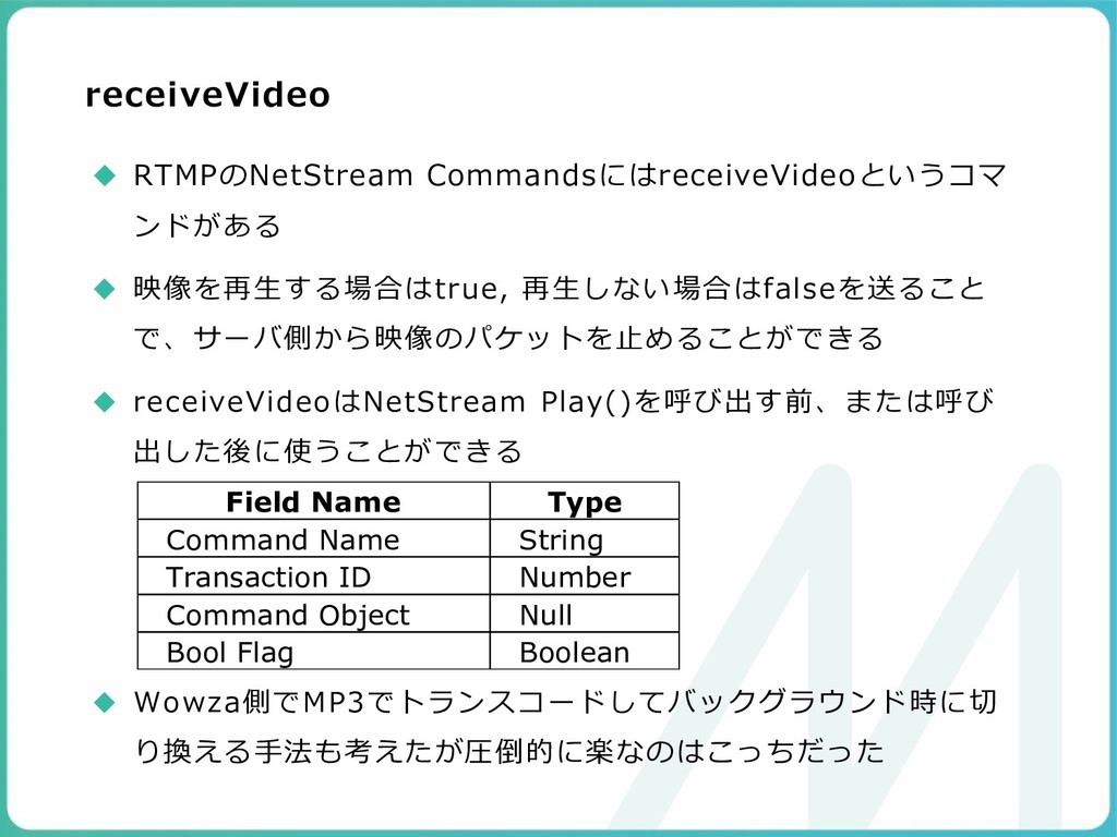 receiveVideo ◆ RTMPのNetStream Commandsにはreceive...