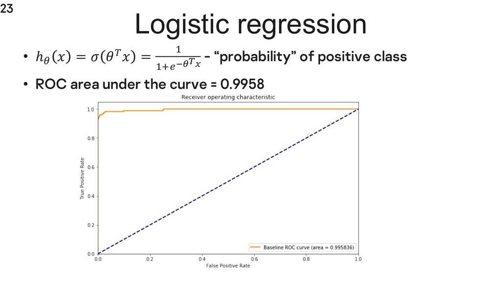 23 Logistic regression • ℎ;  =  L = @ @H5MNOP -...