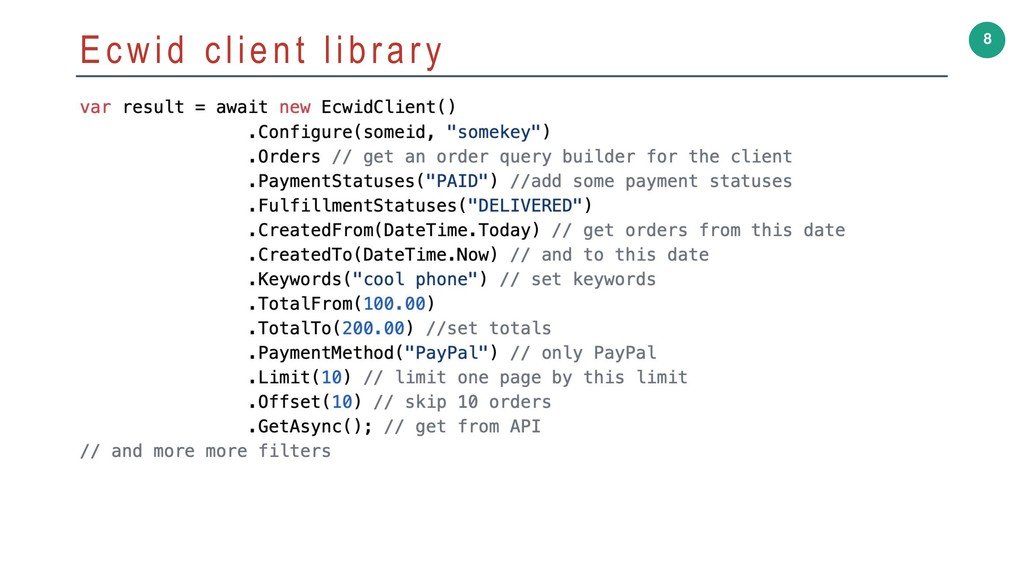 8 Ecwid client library