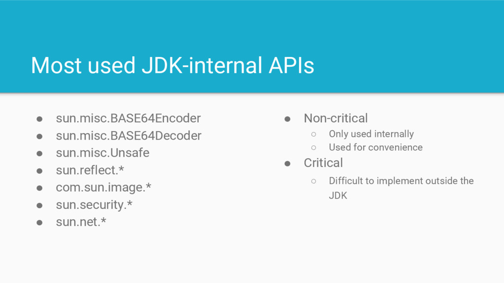 Most used JDK-internal APIs ● sun.misc.BASE64En...