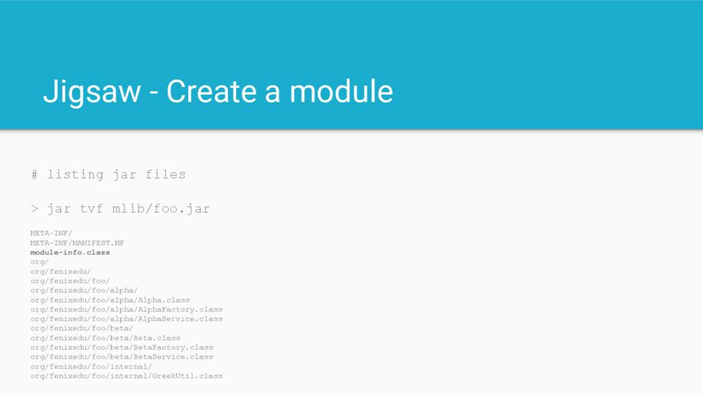 Jigsaw - Create a module # listing jar files > ...