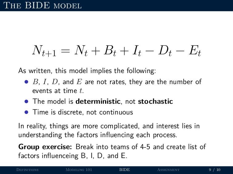The BIDE model Nt+1 = Nt + Bt + It − Dt − Et As...