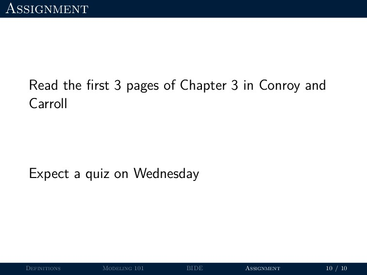 Assignment Read the first 3 pages of Chapter 3 i...