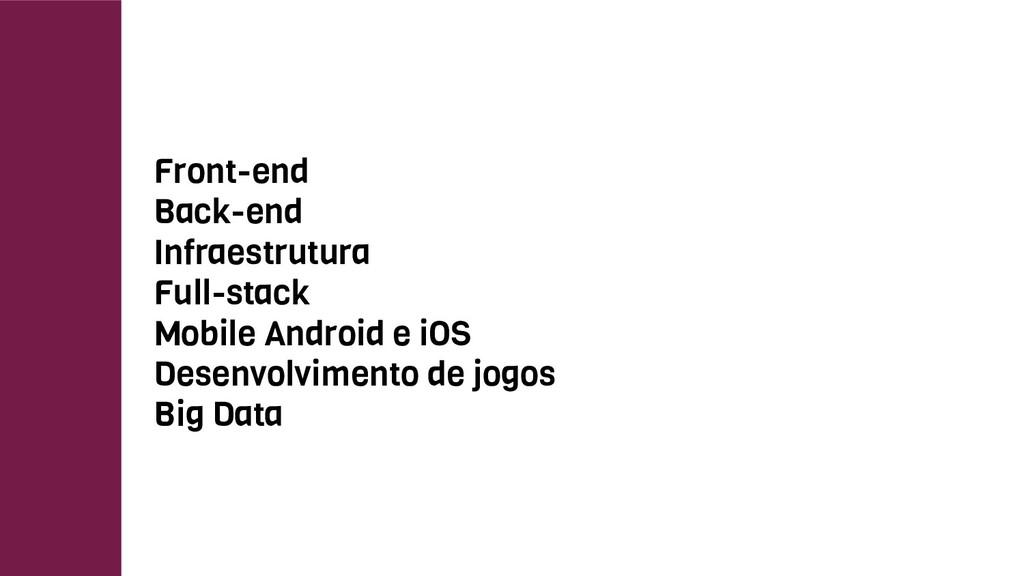 Front-end Back-end Infraestrutura Full-stack Mo...