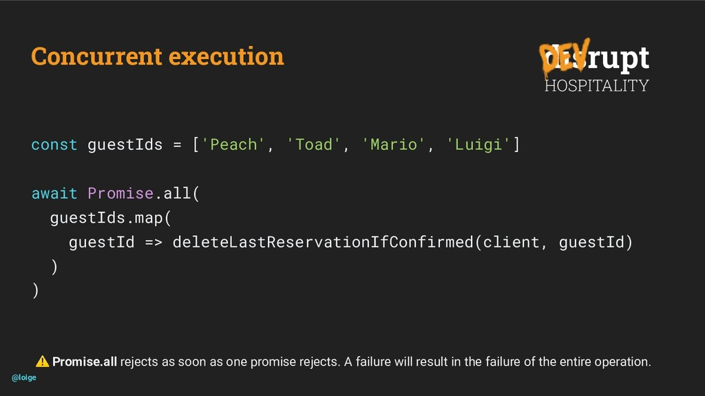 Concurrent execution const guestIds = ['Peach',...