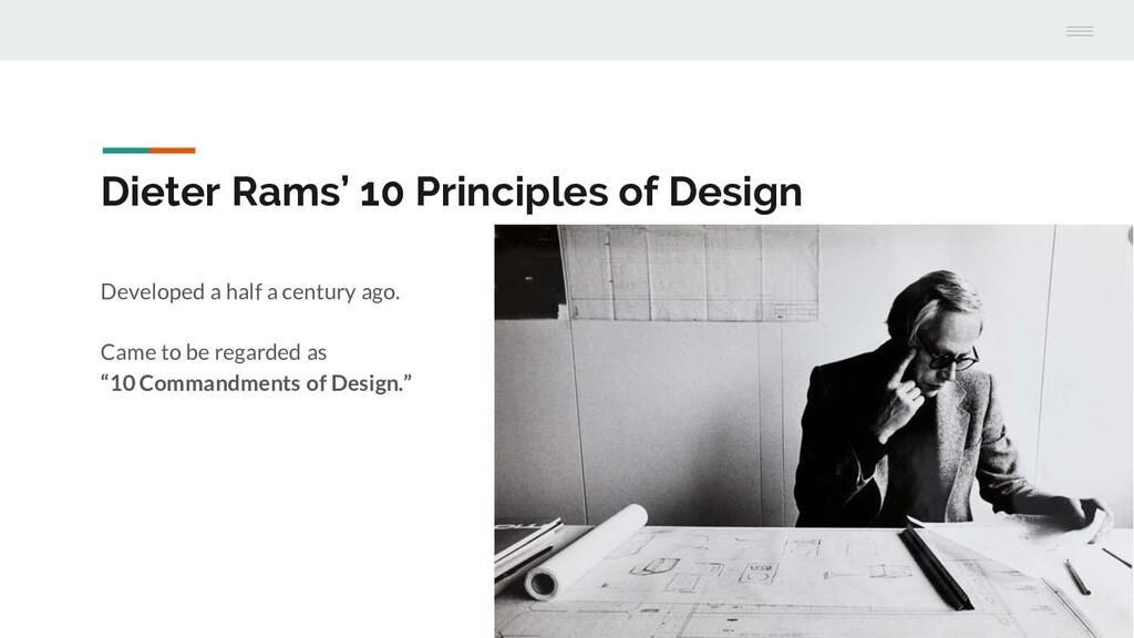 Dieter Rams' 10 Principles of Design Developed ...