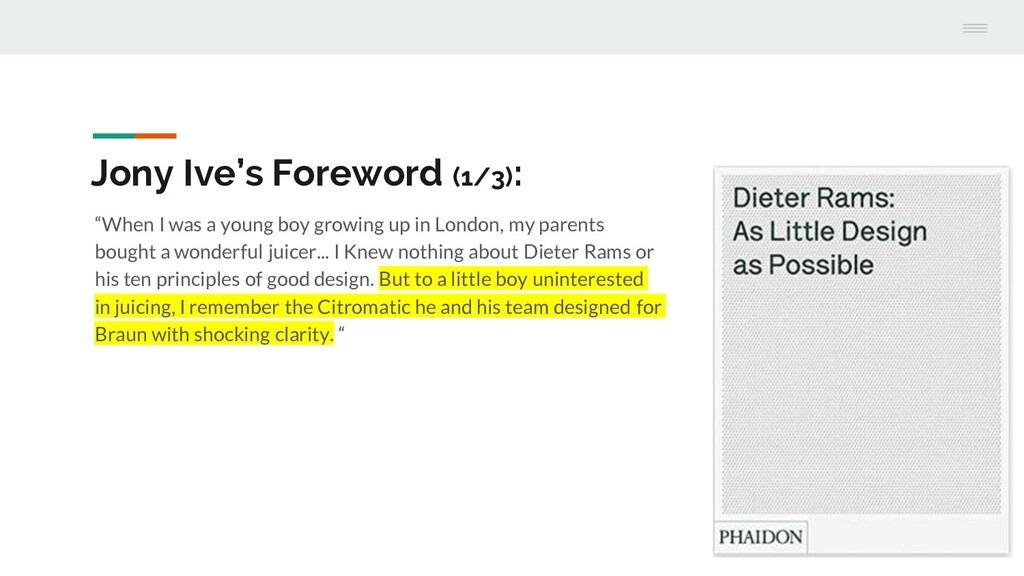 """Jony Ive's Foreword (1/3): """"When I was a young ..."""