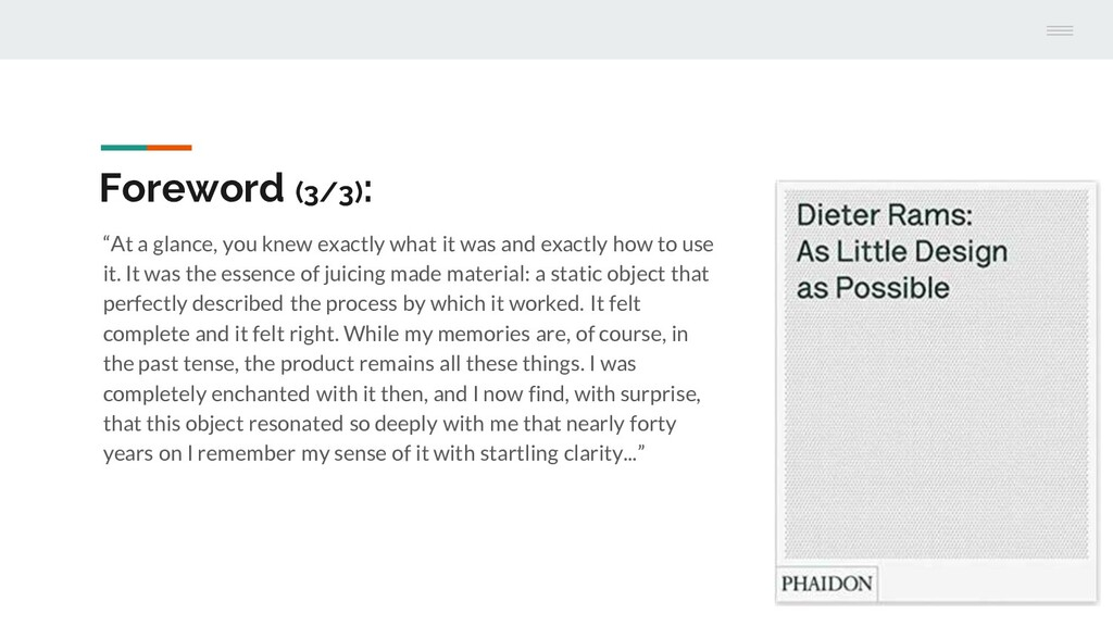 """Foreword (3/3): """"At a glance, you knew exactly ..."""