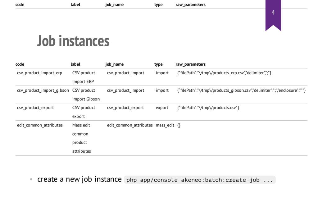 Job instances code label job_name type raw_para...