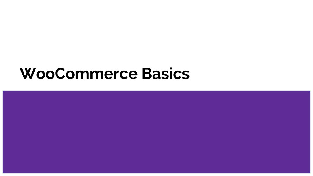WooCommerce Basics