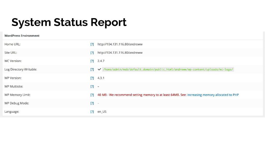 System Status Report