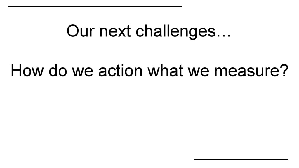 How do we action what we measure? Our next chal...