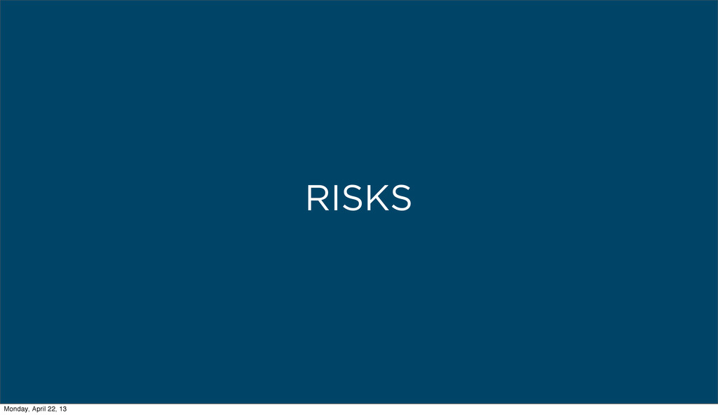 RISKS Monday, April 22, 13
