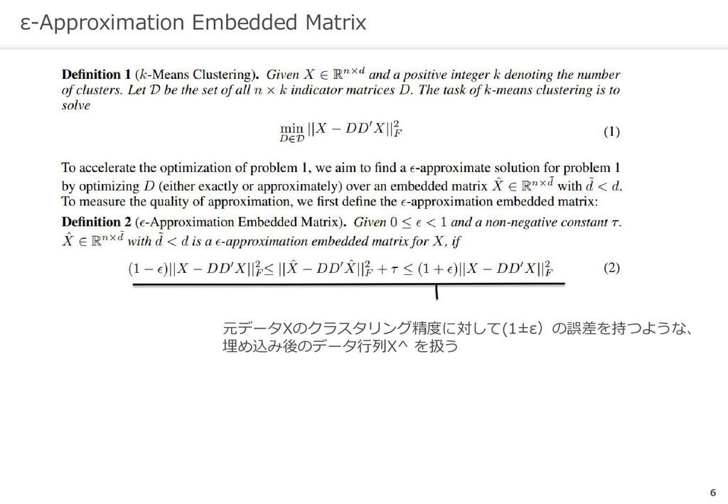 ε-Approximation Embedded Matrix 6   元データXのクラスタリ...