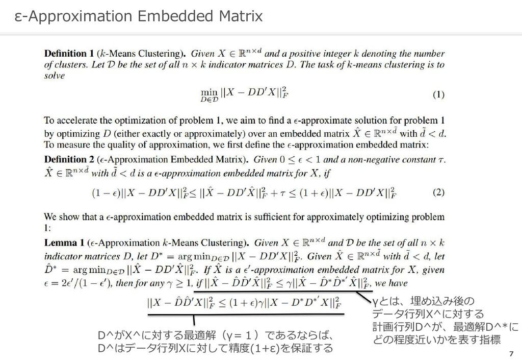 ε-Approximation Embedded Matrix 7   γとは、埋め込み後の ...