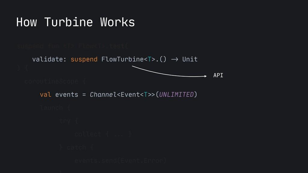 How Turbine Works suspend fun <T> Flow<T>.test(...