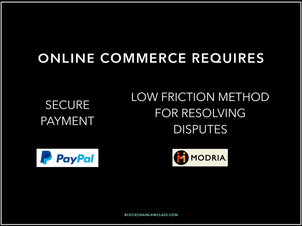 ONLINE COMMERCE REQUIRES LOW FRICTION METHOD FO...