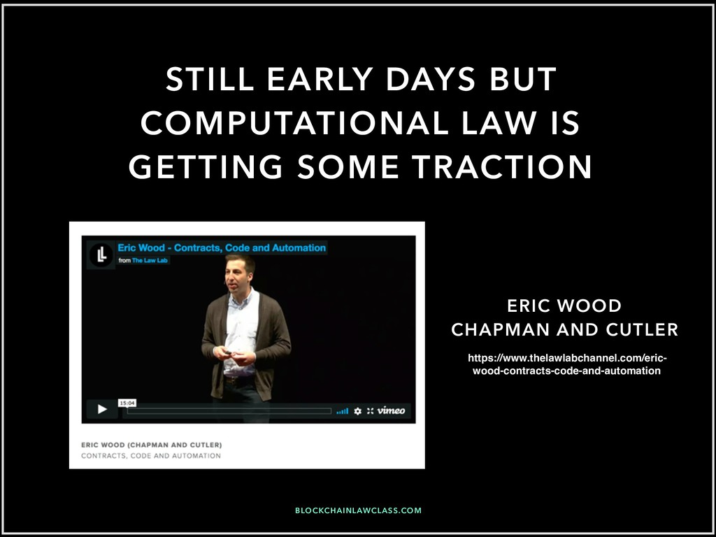 STILL EARLY DAYS BUT COMPUTATIONAL LAW IS GETTI...
