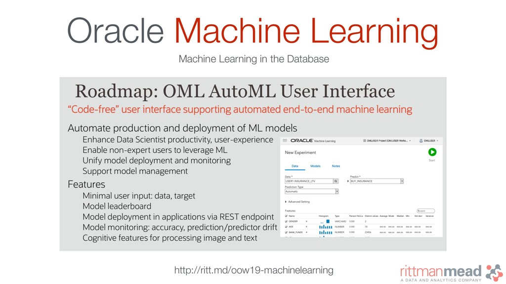 Oracle Machine Learning Machine Learning in the...
