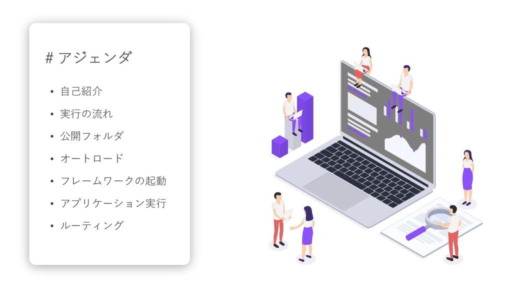 # アジェンダ • ⾃⼰紹介 • 実⾏の流れ • 公開フォルダ • オートロード • フレーム...