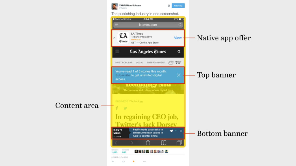 Top banner Native app offer Bottom banner Conten...
