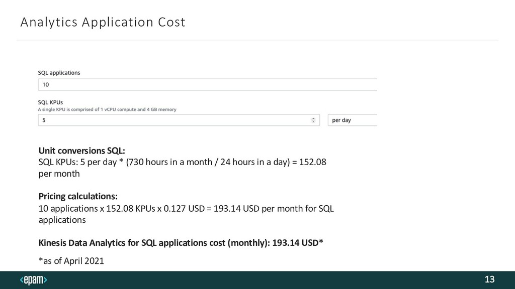 Analytics Application Cost 13 Unit conversions ...