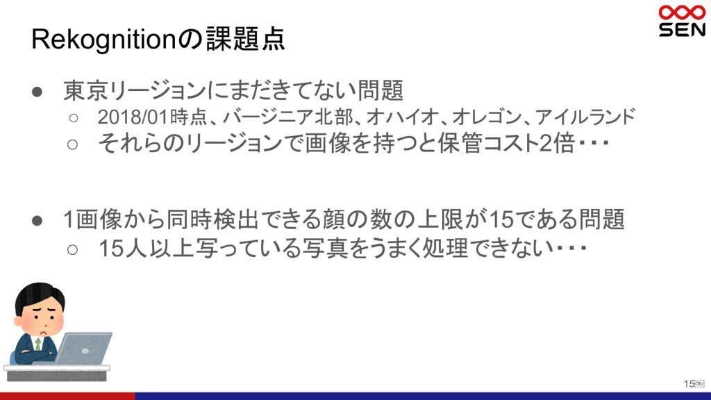 15 Rekognitionの課題点 ● 東京リージョンにまだきてない問題 ○ 2018/0...