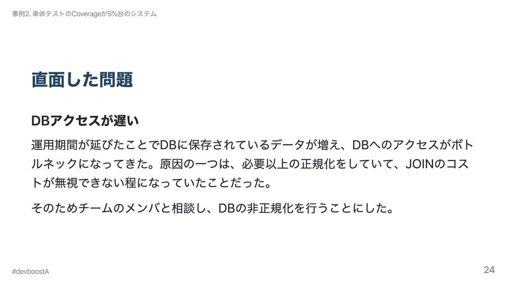 直⾯した問題 DBアクセスが遅い 運⽤期間が延びたことでDBに保存されているデータが増え、DB...
