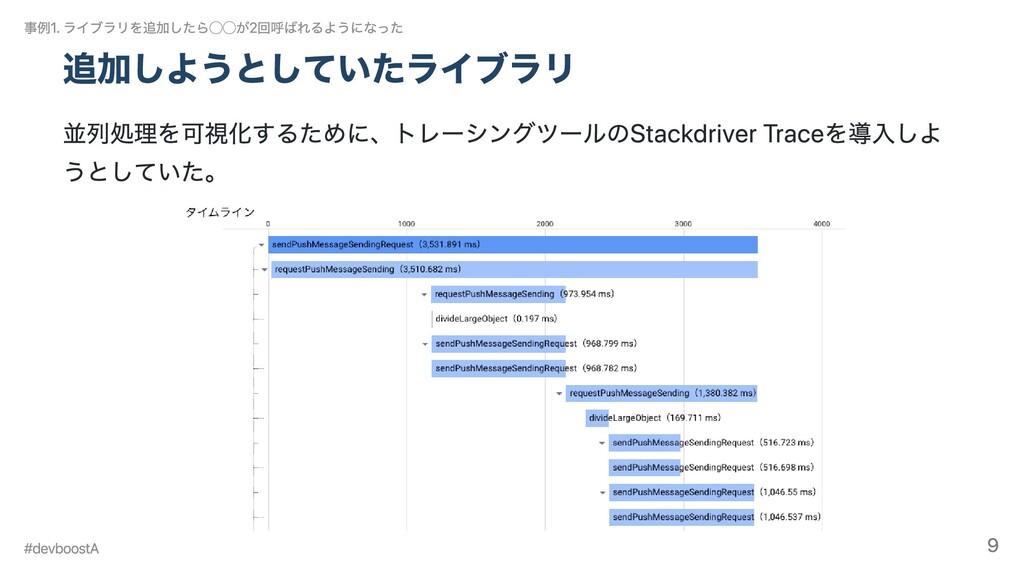 追加しようとしていたライブラリ 並列処理を可視化するために、トレーシングツールのStackdr...