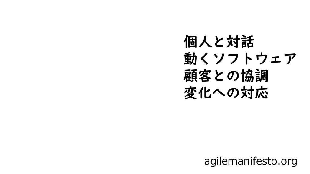 agilemanifesto.org 個人と対話 動くソフトウェア 顧客との協調 変化への対応
