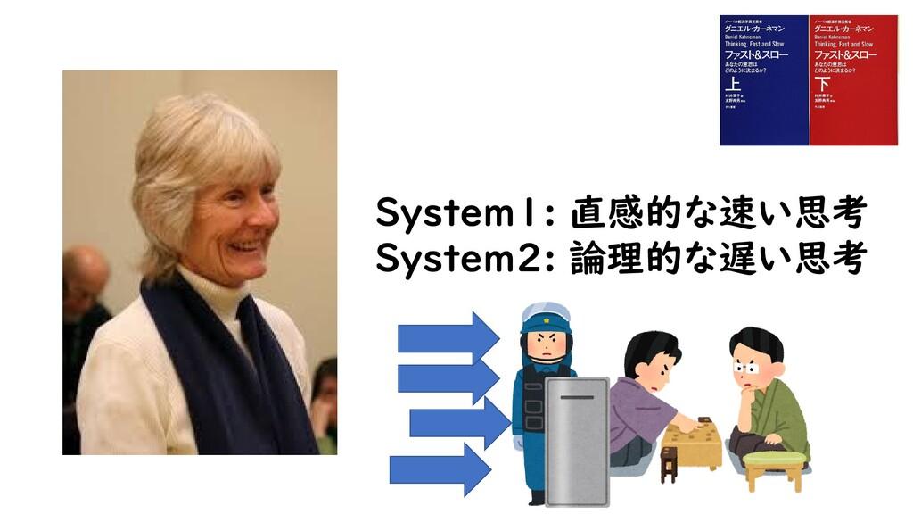 System1: 直感的な速い思考 System2: 論理的な遅い思考