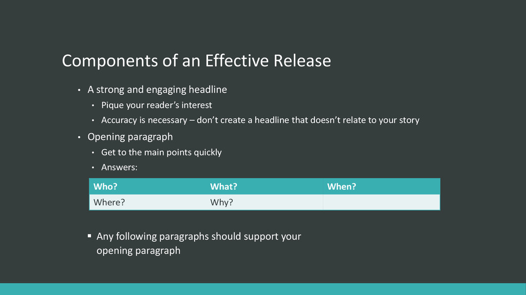 Components of an Effective Release • A strong a...