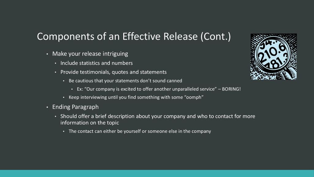 Components of an Effective Release (Cont.) • Ma...