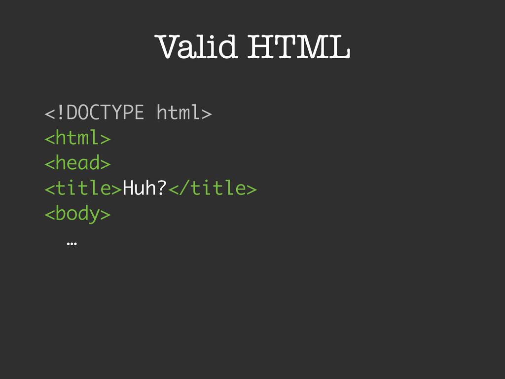 Valid HTML <!DOCTYPE html> <html> <head> <ti...