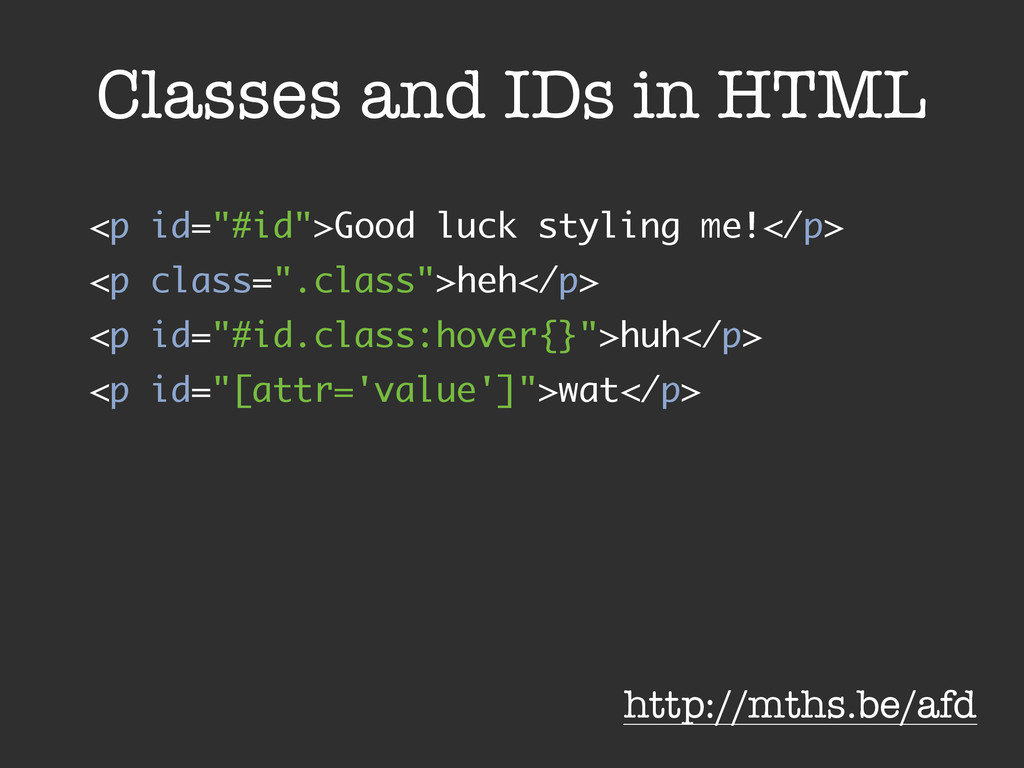 """Classes and IDs in HTML <p id=""""#id"""">Good luck s..."""