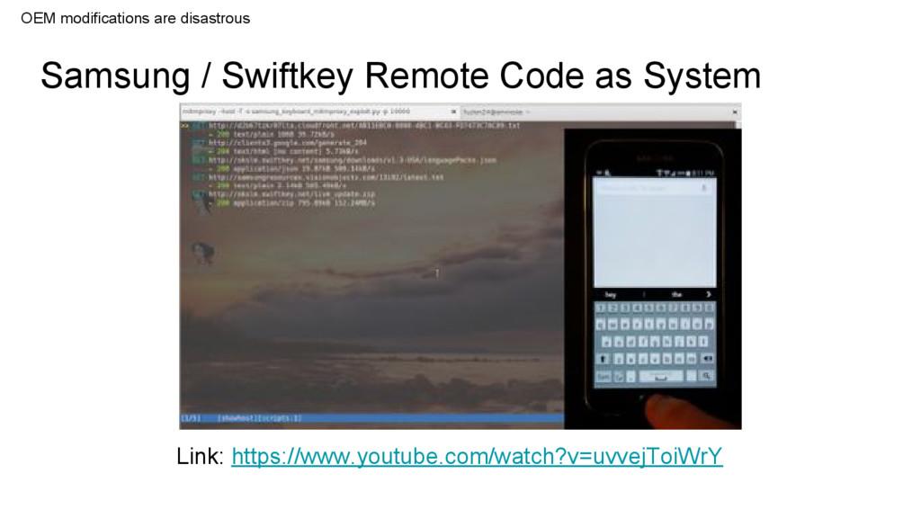 Samsung / Swiftkey Remote Code as System Link: ...