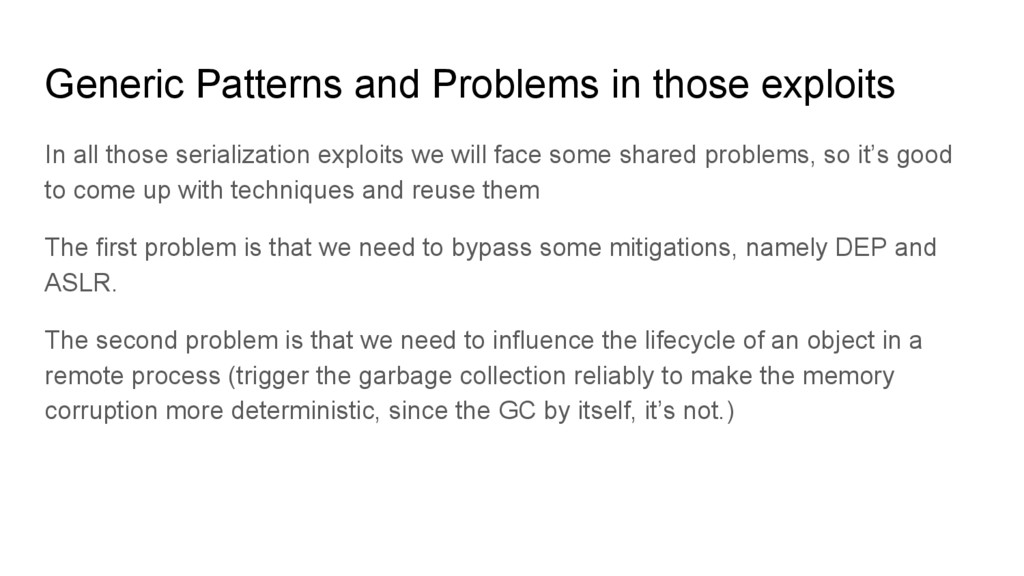 Generic Patterns and Problems in those exploits...