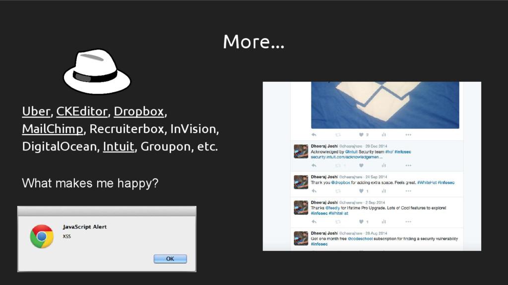 More... Uber, CKEditor, Dropbox, MailChimp, Rec...