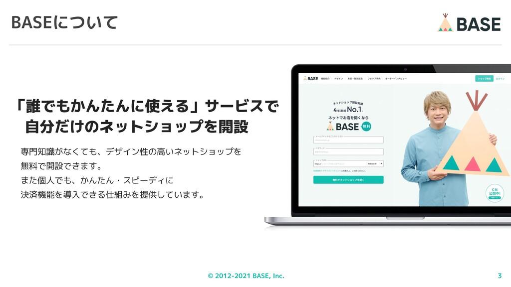 © 2012-2021 BASE, Inc. 3 BASEについて 専門知識がなくても、デザイ...