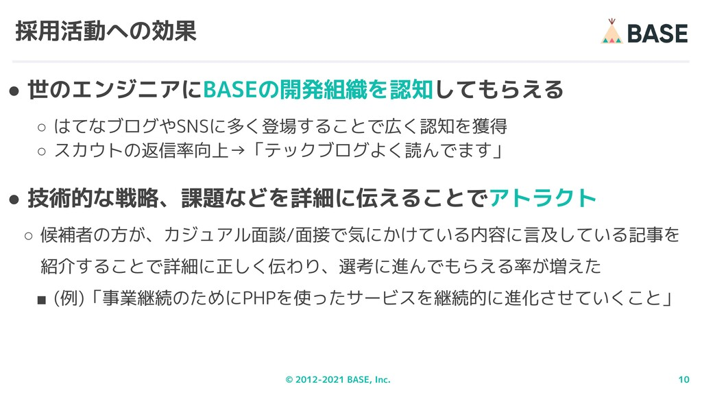 © 2012-2021 BASE, Inc. 10 採用活動への効果 ● 世のエンジニアにBA...