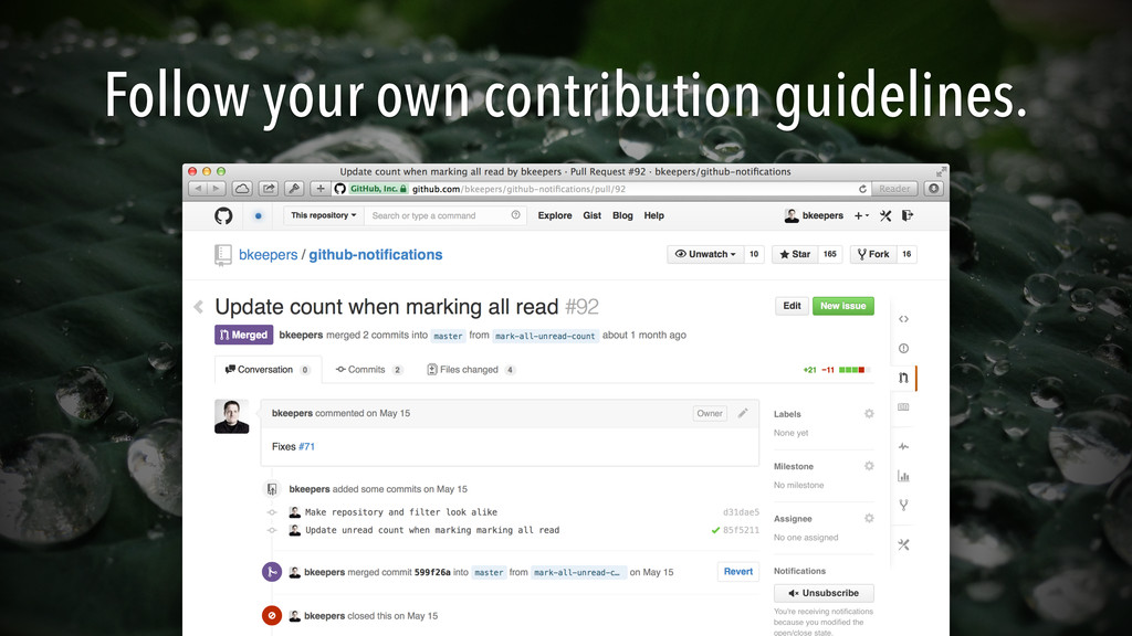Follow your own contribution guidelines.