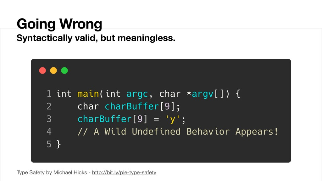 Going Wrong Syntactically valid, but meaningles...